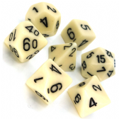 Ivory & Black Opaque Polyhedral 7 Dice Set